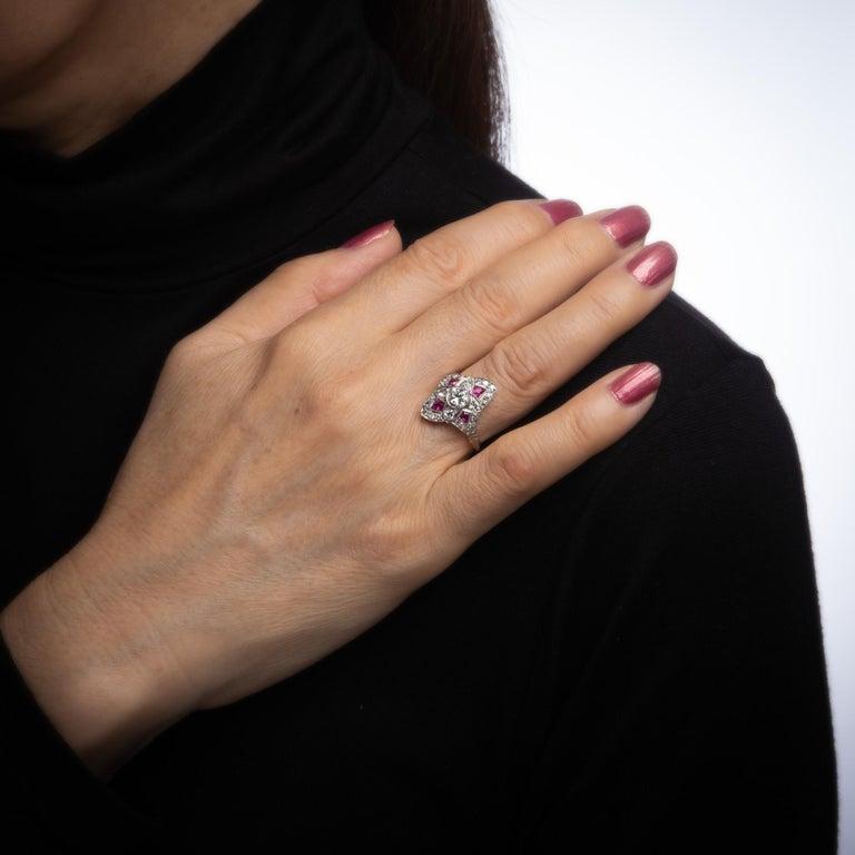 Vintage Art Deco Ruby Diamond Ring Platinum Cocktail Antique Jewelry For Sale 1