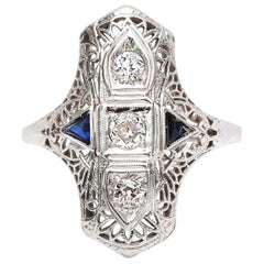 Vintage Art Deco Shield Cocktail Ring 14 Karat Gold with Diamond and Sapphire