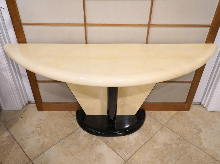 American Vintage Art Deco Springer Style Demilune Goatskin and Ebonized Console Table For Sale
