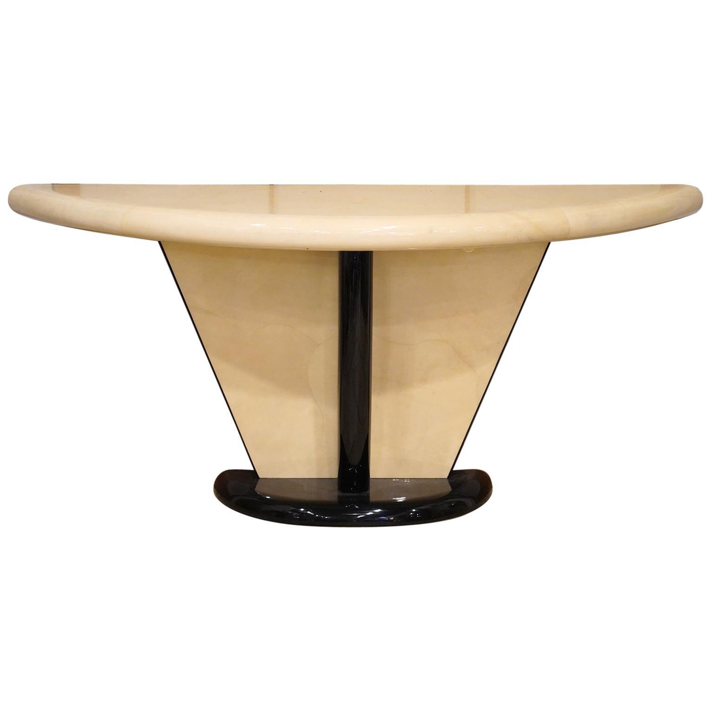 Vintage Art Deco Springer Style Demilune Goatskin and Ebonized Console Table