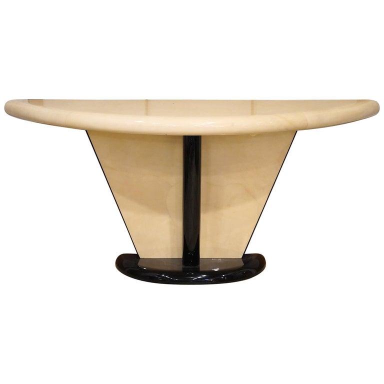 Vintage Art Deco Springer Style Demilune Goatskin and Ebonized Console Table For Sale