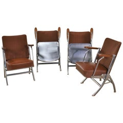 Vintage Art Deco Streamline Bauhaus Chrome Frieze Vinyl Folding Auditorium Chair