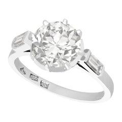 Vintage Art Deco Style 1940s 2.78 Carat Diamond and Platinum Solitaire Ring
