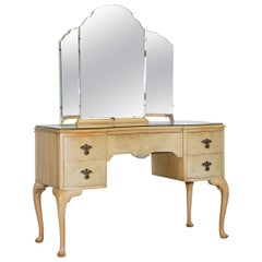 Vintage Art Deco Style 1940s Burr Light Walnut Dressing Table Tri Fold Mirrors