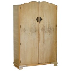 Vintage Art Deco Style 1940s Burr Light Walnut Large Double Wardrobe Part Suite
