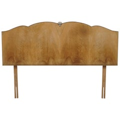 Vintage Art Deco Style 1940s Burr Light Walnut Single Headboard Part Suite