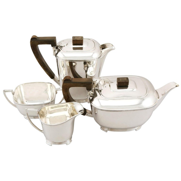 Vintage Art Deco Style 1940s Sterling Silver Four-Piece Tea and Coffee Service For Sale