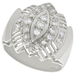 Vintage Art Deco Style 1950s Diamond and White Gold Cocktail Ring