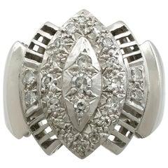 Vintage Art Deco Style 1950s Diamond White Gold Cocktail Ring