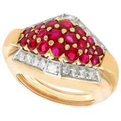 Vintage Art Deco Style 1950s Ruby Diamond Yellow Gold Cocktail Ring