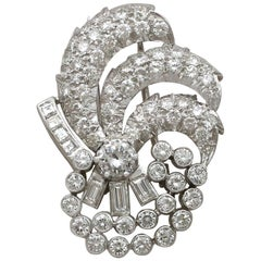 Vintage Art Deco Style 4.95 Carat Diamond and Platinum Brooch, circa 1940