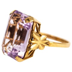 Vintage Art Deco Style 9 Carat Gold Amethyst Cocktail Ring