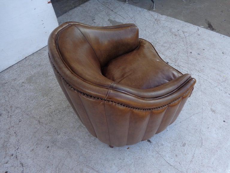 European Vintage Art Deco Style Barrel Club Chair For Sale