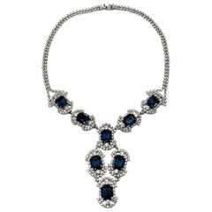 Vintage Art Deco Style Blue & White Crystal Necklace 1950s