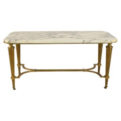 Vintage Art Deco Style Brass and White Marble Coffee Table