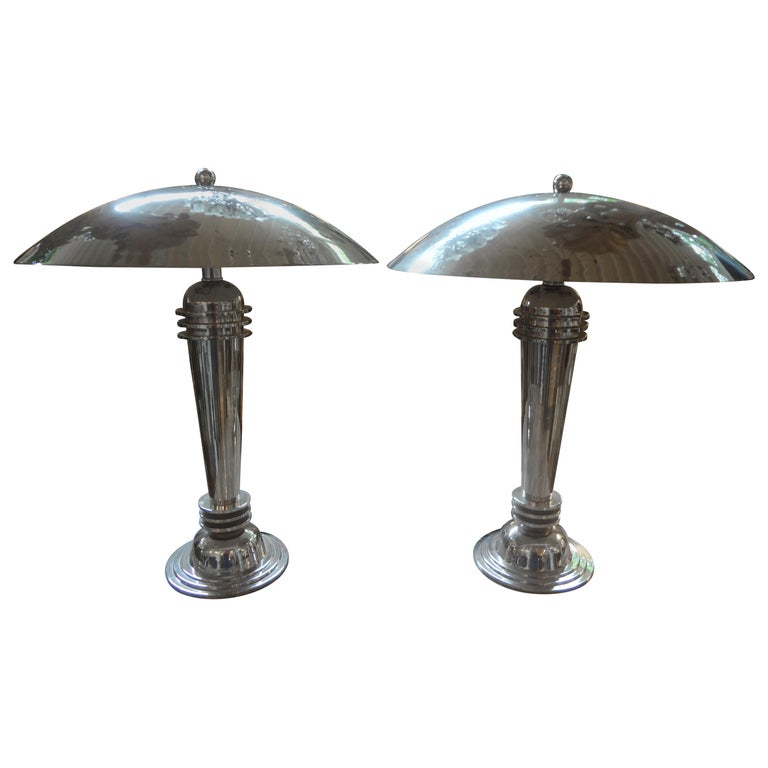 Vintage Art Deco Style Chrome Dome Lamps A Pair At 1stdibs