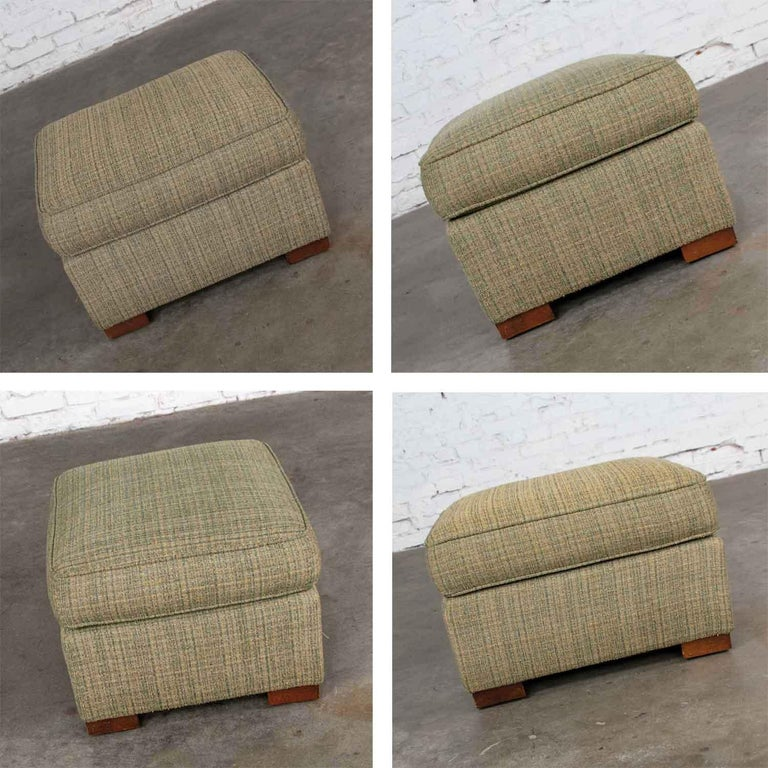 Vintage Art Deco Style Club Chair and Ottoman in Green Tweed by Hickory Chair For Sale 5