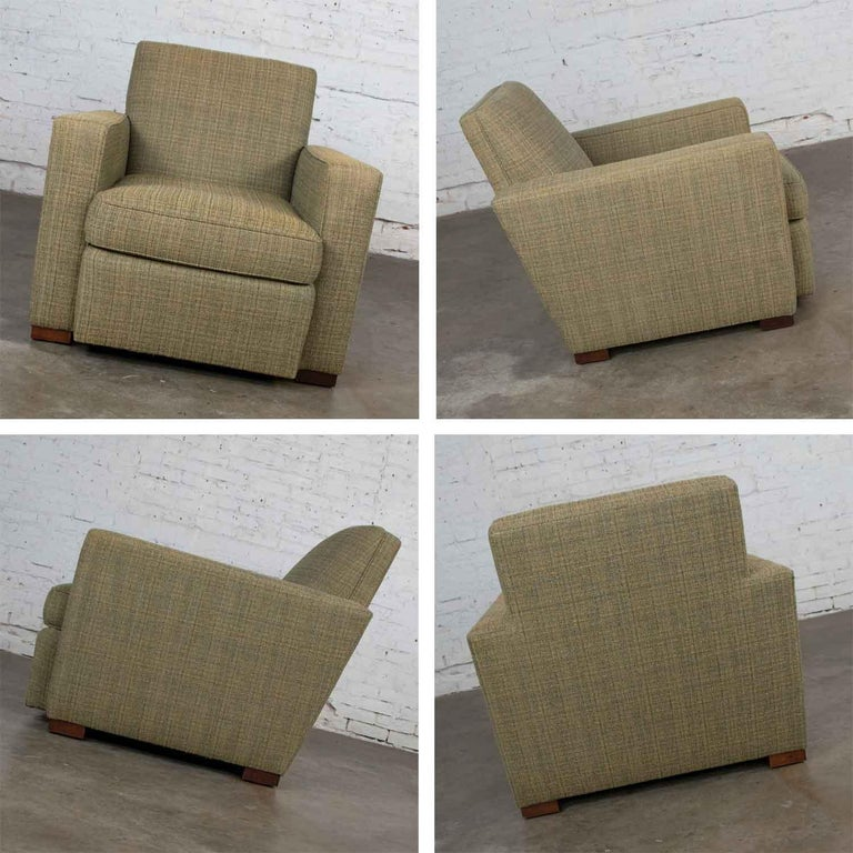 Vintage Art Deco Style Club Chair and Ottoman in Green Tweed by Hickory Chair For Sale 6