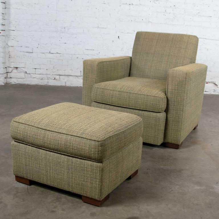 American Vintage Art Deco Style Club Chair and Ottoman in Green Tweed by Hickory Chair For Sale