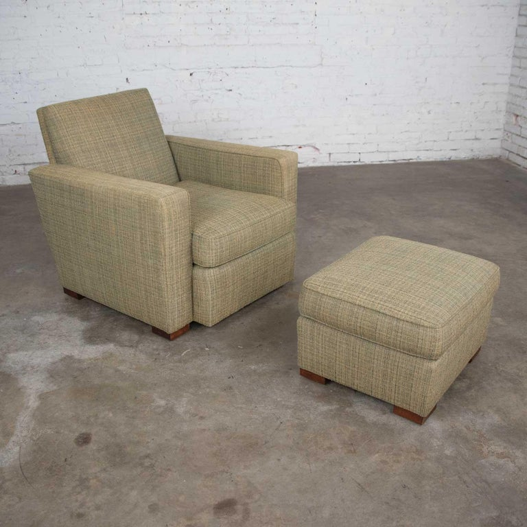 Vintage Art Deco Style Club Chair and Ottoman in Green Tweed by Hickory Chair In Good Condition For Sale In Topeka, KS