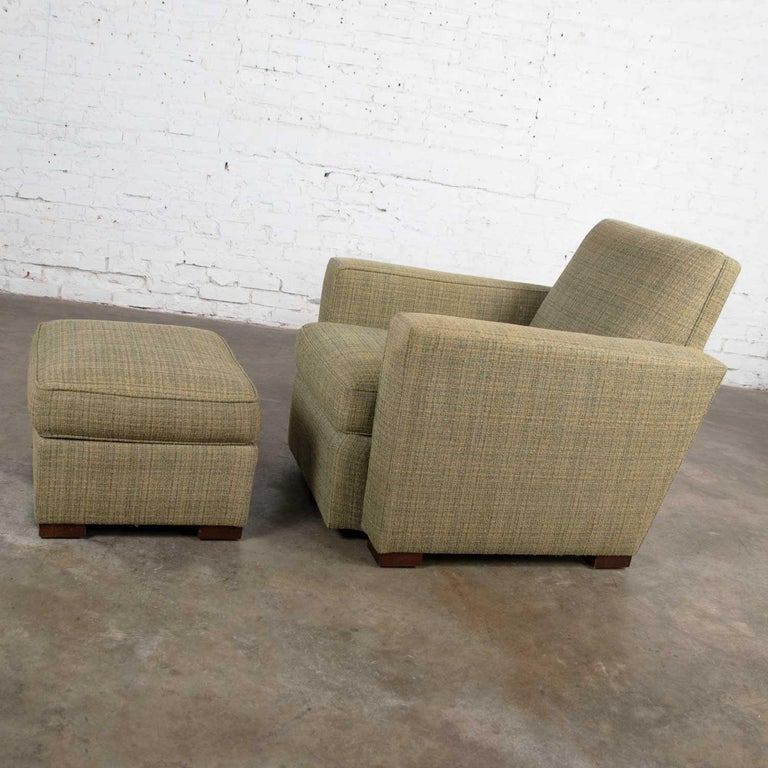 20th Century Vintage Art Deco Style Club Chair and Ottoman in Green Tweed by Hickory Chair For Sale