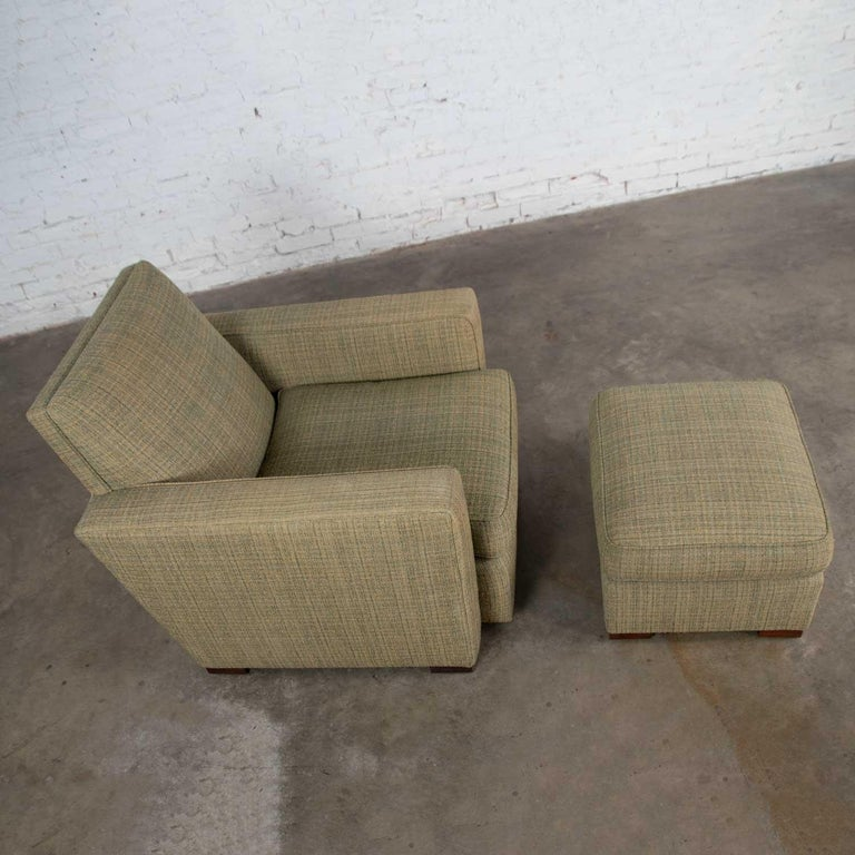 Fabric Vintage Art Deco Style Club Chair and Ottoman in Green Tweed by Hickory Chair For Sale