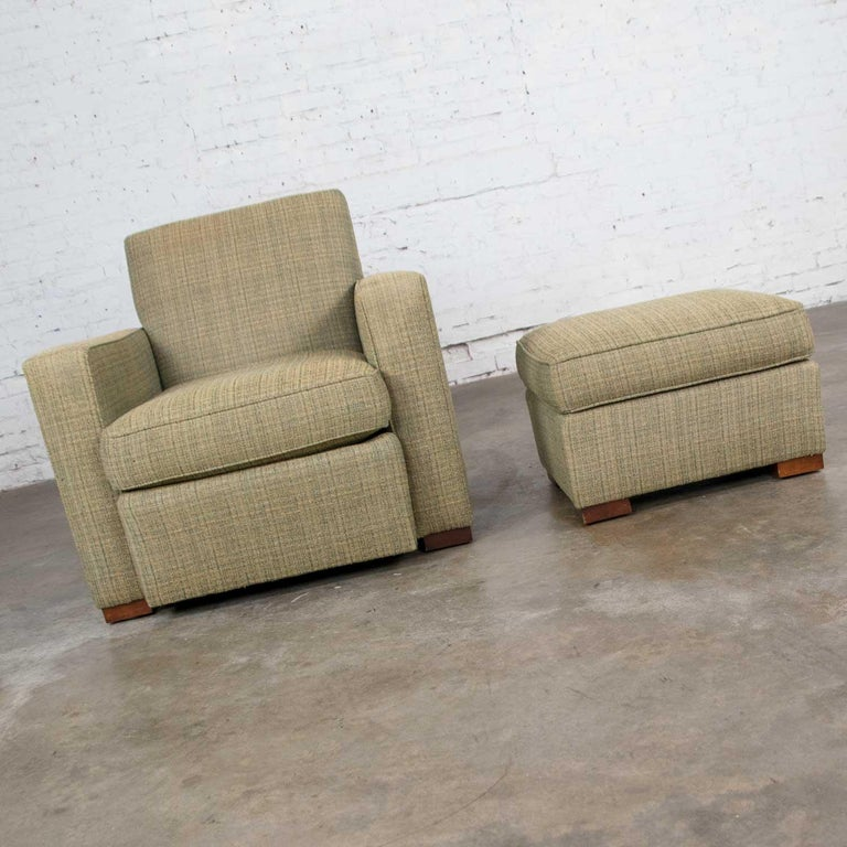 Vintage Art Deco Style Club Chair and Ottoman in Green Tweed by Hickory Chair For Sale 1