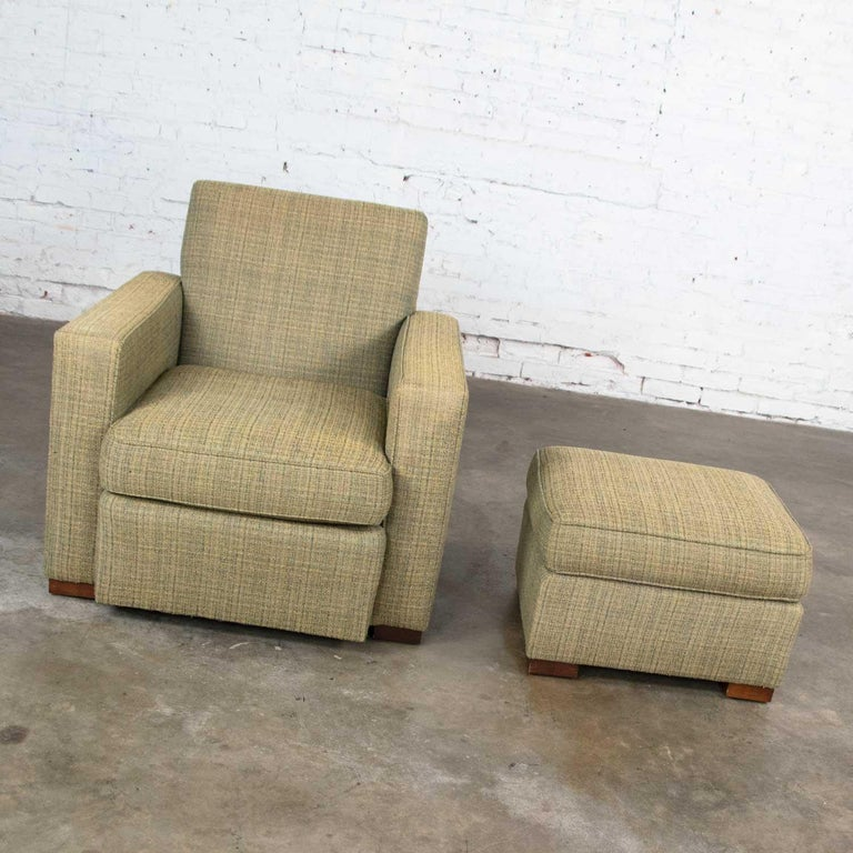 Vintage Art Deco Style Club Chair and Ottoman in Green Tweed by Hickory Chair For Sale 2