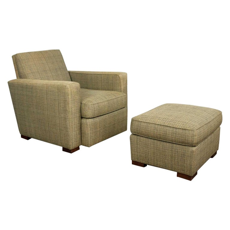 Vintage Art Deco Style Club Chair and Ottoman in Green Tweed by Hickory Chair For Sale