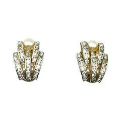 Vintage Art Deco Style Crystal & Pearl Earrings 1950s
