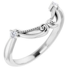 Vintage Art Deco Style Curved Diamond Wedding Band in 18 Karat White Gold