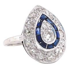 Vintage Art Deco Style Diamond Sapphire 14 Karat White Gold Teardrop Ring