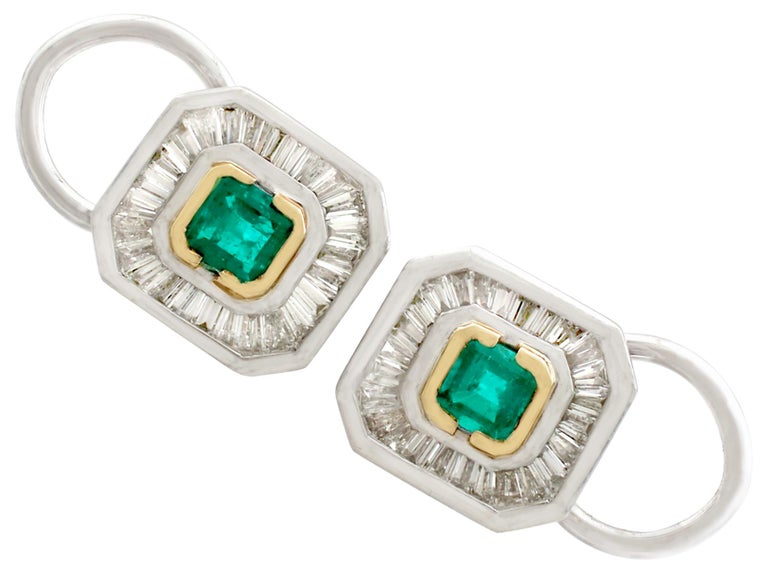 7efebb87a ... Yellow Gold and Platinum Earrings For Sale. A fine and impressive pair  of vintage 0.42 carat natural emerald and 0.63 carat diamond,