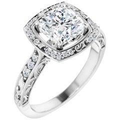 Vintage Art Deco Style Halo Cushion Diamond Engagement Ring