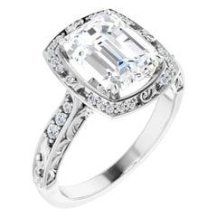 Vintage Art Deco Style Halo Emerald White Diamond Engagement Ring