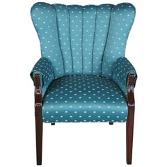 Vintage Art Deco Style Mahogany Channel Back Arm Chair Barrel Library Club