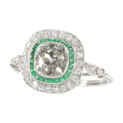 Vintage Art Deco Style Platinum Diamond and Emerald Engagement Ring, 1930s
