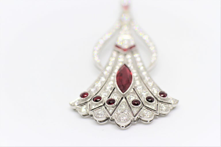 Marquise Cut Vintage Art Deco Style Ruby and Diamond Jabot Pin For Sale
