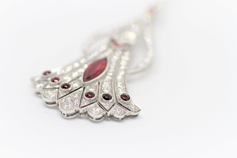 Vintage Art Deco Style Ruby and Diamond Jabot Pin In Excellent Condition For Sale In London, GB