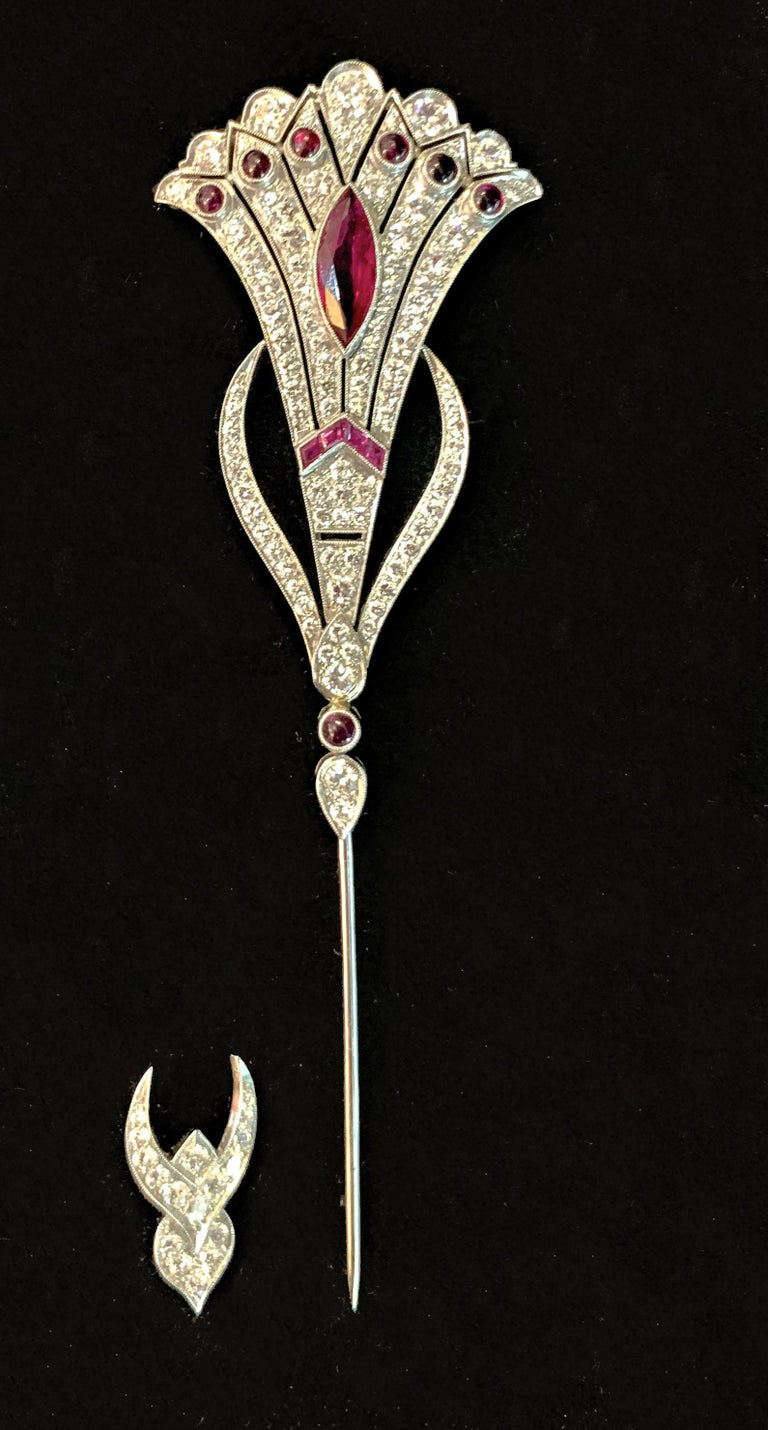 Vintage Art Deco Style Ruby and Diamond Jabot Pin For Sale 2