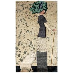 Vintage Art Deco Style Rug in Beige Green Pictorial Pattern