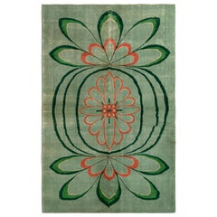 Vintage Art Deco Style Rug in Green and Orange Floral Pattern