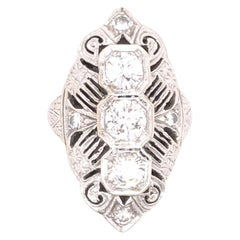 Art Deco Style Three-Stone Diamond White Gold Ring