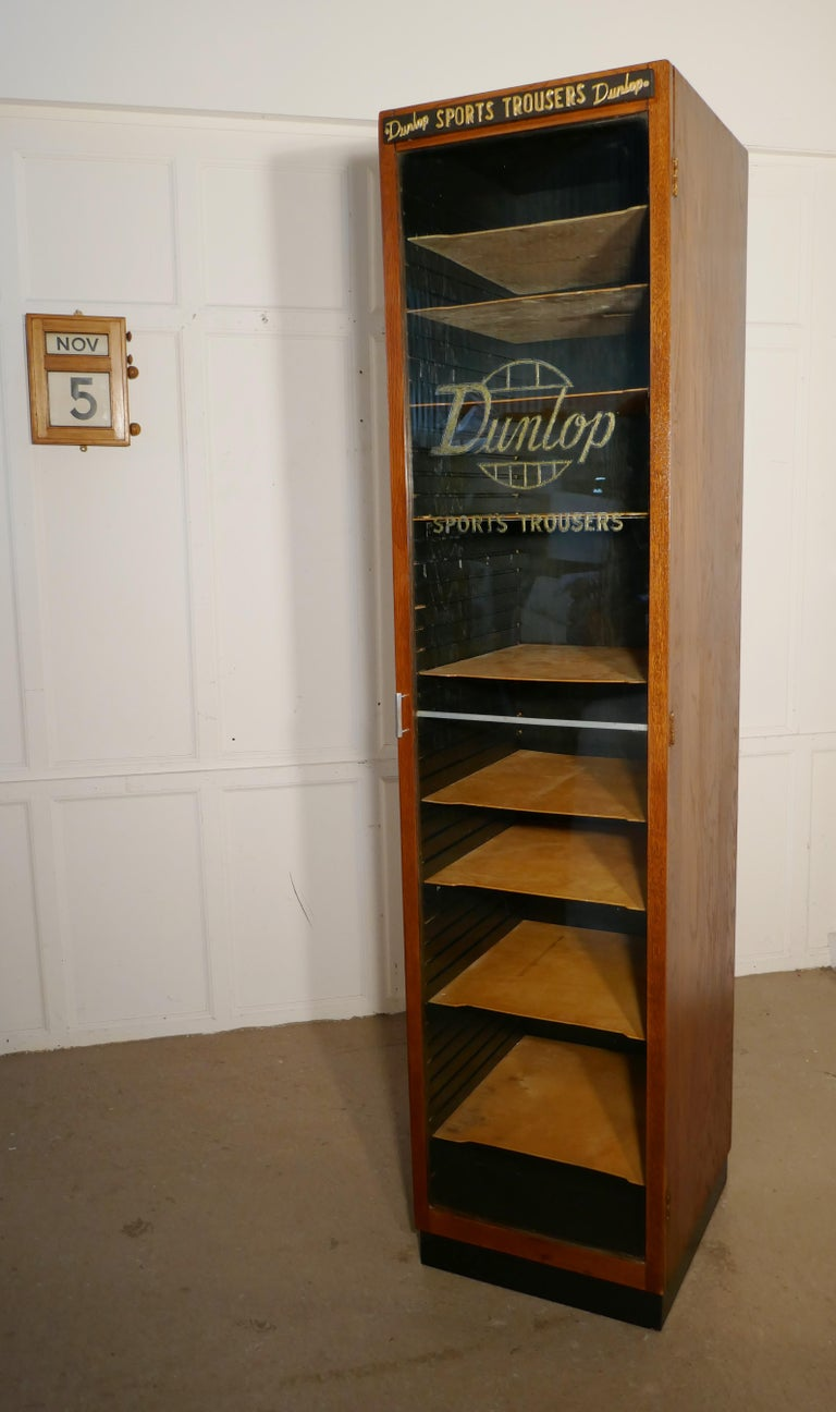 Vintage Art Deco Tall Haberdashery Dunlop Sports Cabinet In Good Condition For Sale In Chillerton, Isle of Wight