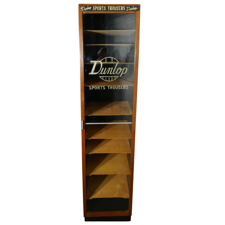 Vintage Art Deco Tall Haberdashery Dunlop Sports Cabinet For Sale