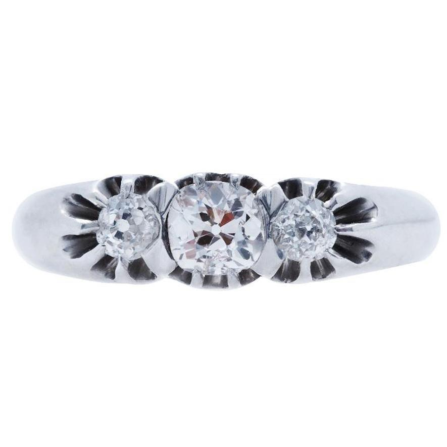 Vintage Art Deco Three-Stone Old Mine Cut Diamond Platinum Engagement Ring