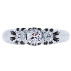 Vintage Art Deco Three-Stone Old Mine Cut Diamond Platinum Engagement Ring
