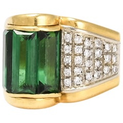 Vintage Art Deco Tourmaline Diamond Cocktail Ring