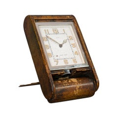 Vintage Art Deco Travel Clock, Franco-Swiss, 8 Day, Jaeger-LeCoultre, Asprey