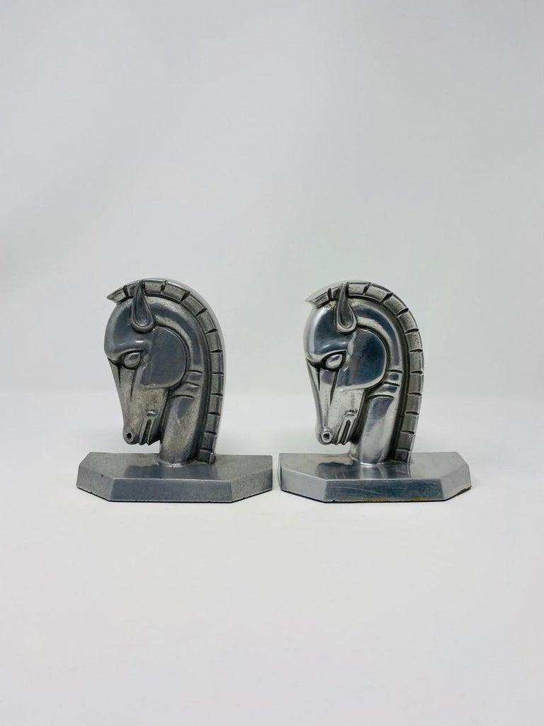 Cast Vintage Art Deco Trojan Horse Head Bookends For Sale